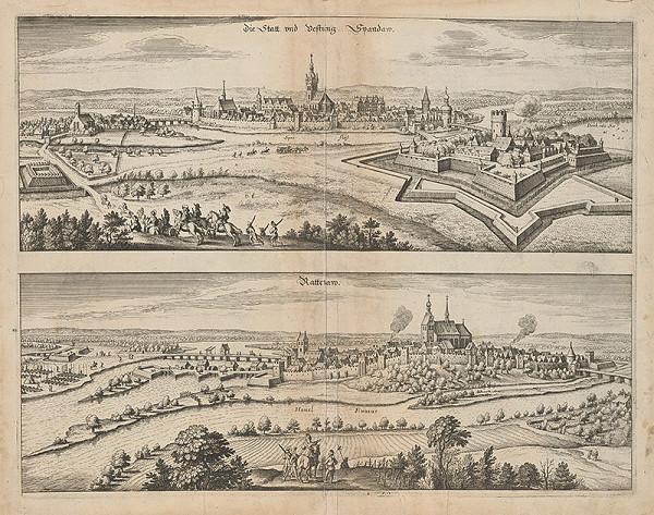 Stredoeurópsky grafik z 1. polovice 17. storočia - Dvojobraz mesta Spandaw a Rattenaw