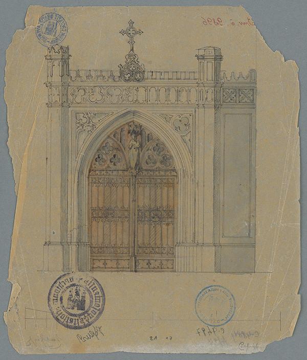 Stredoeurópsky grafik z 19. storočia - Fasáda brány cintorína sv. Ondreja v Bratislave