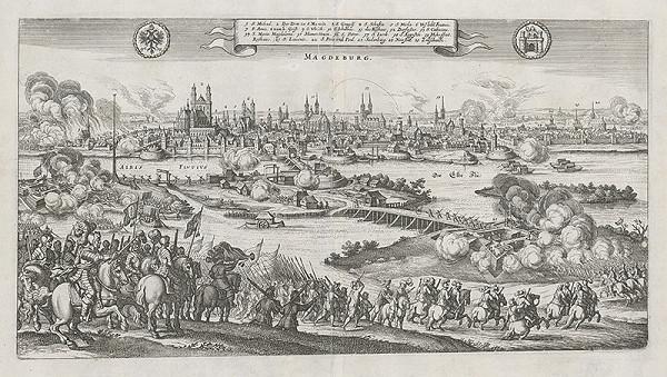 Stredoeurópsky grafik z 2. polovice 17. storočia – Obliehanie Magdeburgu švédskou armádou