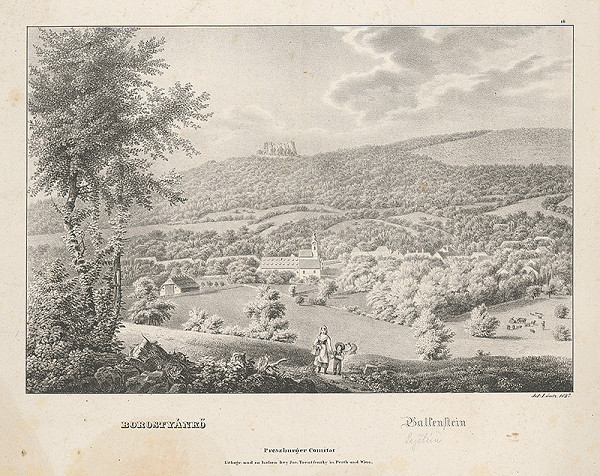 Jozef Anton Lántz - Pohľad na Borinku a hrad Pajštún
