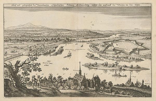 Matthäus Merian – Obliehanie Gústavúsburgu švédskym vojskom