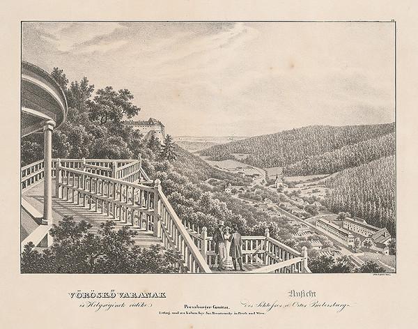 Jozef Anton Lántz – Pohľad na hrad a obec Červený Kameň