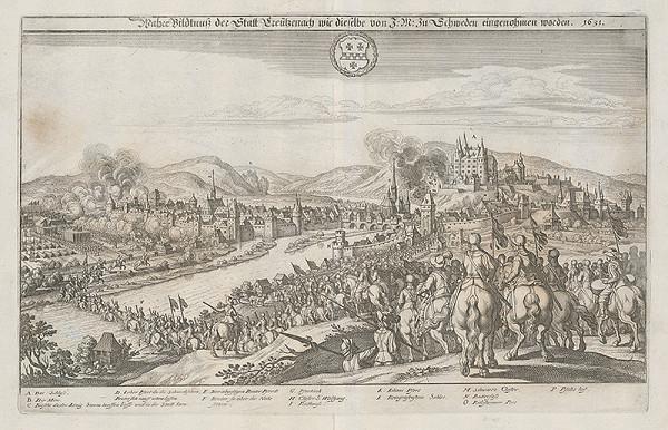 Nemecký grafik z 1. polovice 17. storočia - Obsadenie Kreützenachu švédskym kráľom Gustávom Adolfom