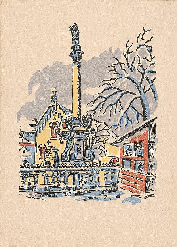 Slovenský grafik z 2. polovice 20. storočia - Morový stĺp pred kapucínskym kostolom v Bratislave
