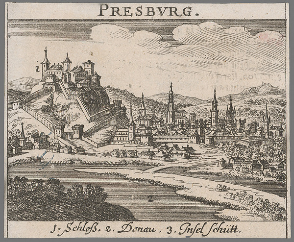 Stredoeurópsky grafik z 2. polovice 17. storočia - Bratislava z juhu