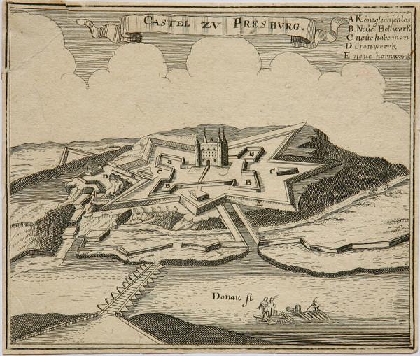 Stredoeurópsky grafik z 2. polovice 17. storočia - Opevnenie Bratislavského hradu