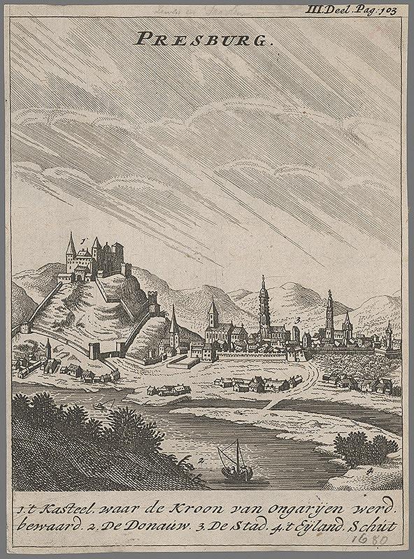 Stredoeurópsky grafik zo 17. storočia – Pohľad na Bratislavu v 17. storočí