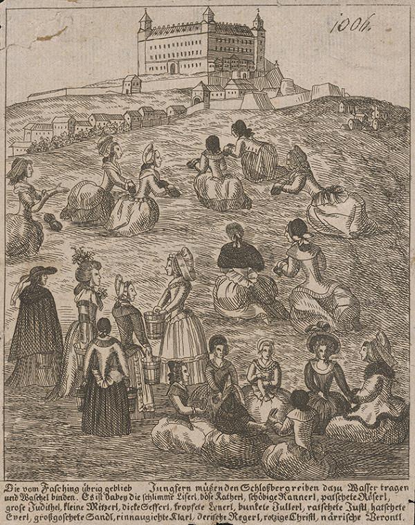 Stredoeurópsky grafik z 18. storočia - Panny umývajúce bratislavský hradný vrch