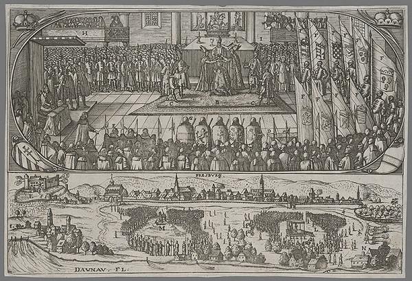 Stredoeurópsky grafik zo 17. storočia - Korunovácia Leopolda I. v Bratislave