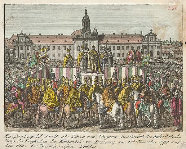 Stredoeurópsky grafik z 18. storočia – Prísaha Leopolda II. uhorskej šľachte