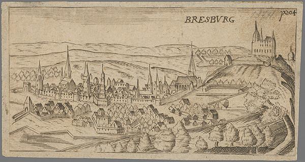 Stredoeurópsky grafik z 2. polovice 17. storočia – Bratislava v 17. storočí-pohľad zo severu