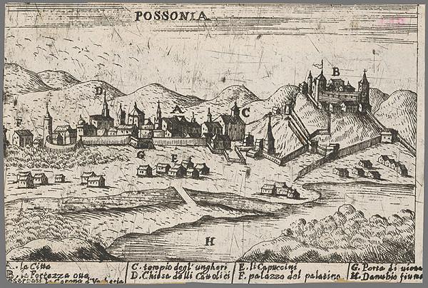 Stredoeurópsky grafik z 2. polovice 17. storočia – Bratislava z juhu