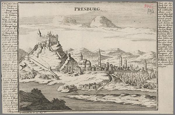 Johann Georg Bodenehr – Bratislava z juhu