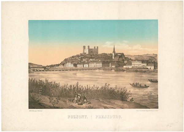Stredoeurópsky grafik z polovice 19. storočia – Bratislava v 19. storočí - pohľad z juhu