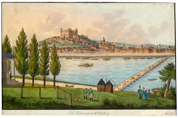 Stredoeurópsky grafik z 1. polovice 19. storočia – Bratislava v 19. storočí - pohľad z juhu