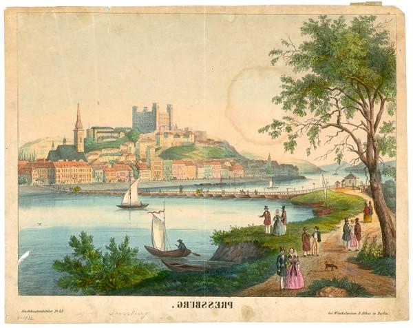 Stredoeurópsky grafik z polovice 19. storočia - Pohľad na Bratislavu z juhu
