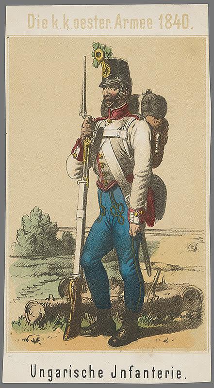 Stredoeurópsky grafik z 1. polovice 19. storočia - Maďarský pešiak
