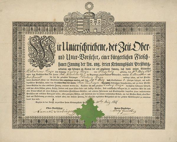 Gottfried Prixner - Bratislava - Učňovská cechová listina Ľudovíta Hagna