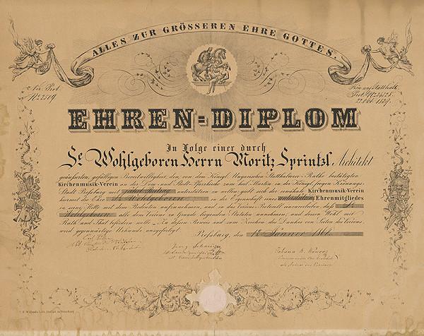 Rakúsky grafik z 19. storočia – Bratislava - Čestný diplom
