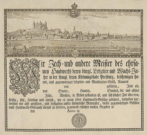 Ignac von Müller – Cechová listina medovnikárov a voskárov v Bratislave
