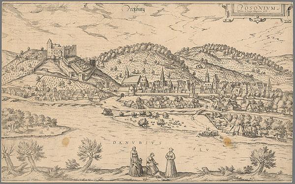 Franz Hogenberg, Joris Hoefnagel - Bratislava v 16. storočí - pohľad z juhu