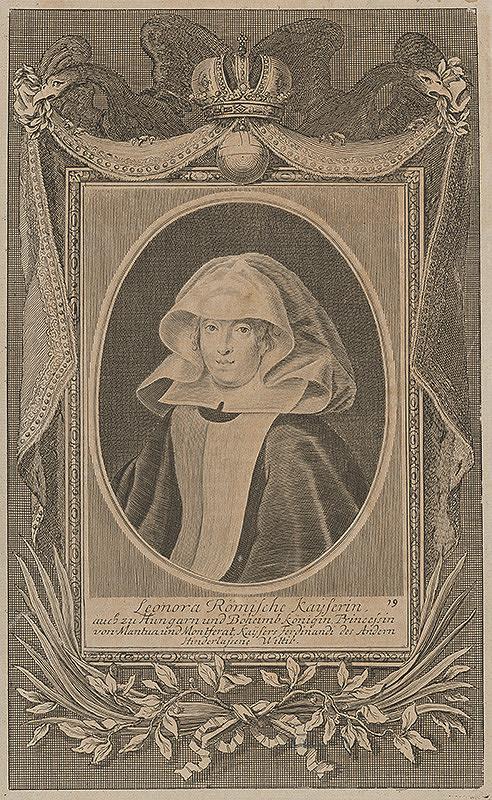 Stredoeurópsky grafik z 18. storočia - Portrét cisárovnej Eleonóry Gonzaga