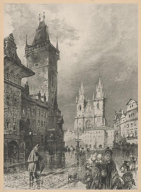 Stredoeurópsky grafik z prelomu 19. - 20. storočia – Staromestské námestie v Prahe