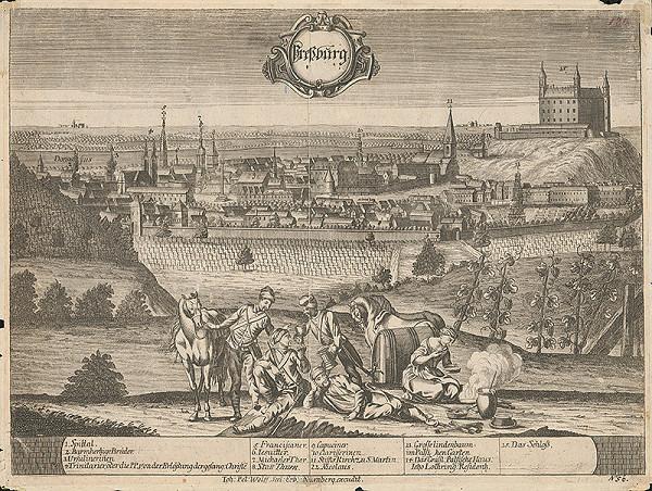 Friedrich Bernhard Werner, Johan Peter Wolff – Pohľad na Bratislavu zo severozápadu