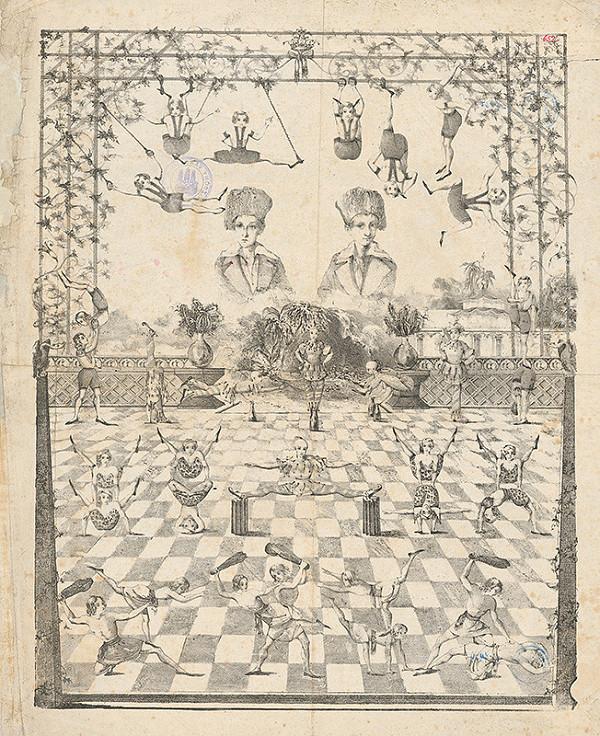 Stredoeurópsky grafik z 1. polovice 19. storočia - Akrobatické cvičenie chlapcov