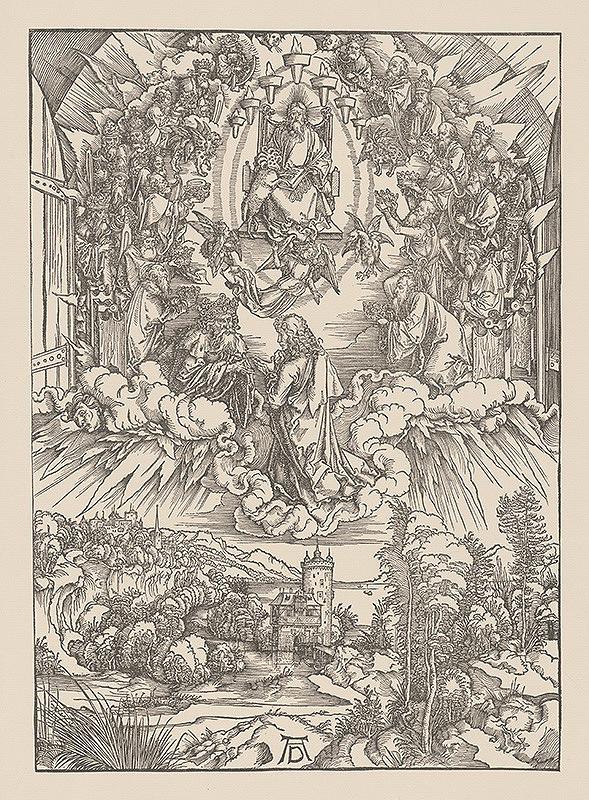 Albrecht Dürer – Výjav z Apokalypsy - Prijatie sv. Jána v nebi - list č. 3 list s 24 starcami