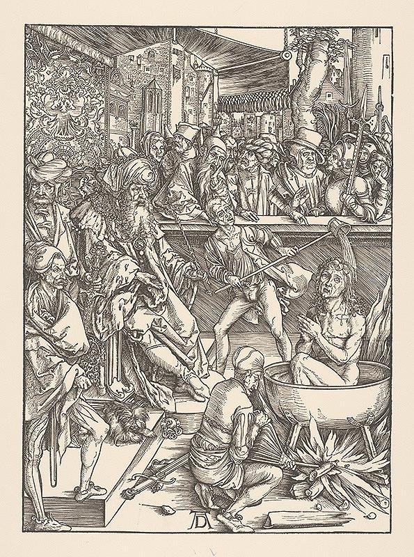 Albrecht Dürer - Mučenie sv. Jána Evanjelistu - Výjav z Apokalypsy