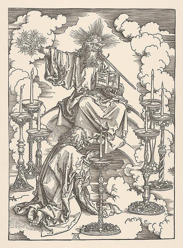 Albrecht Dürer – Výjav z Apokalypsy - Sv. Ján Evanjelista v kruhu 7 svietnikov (List č. 2)