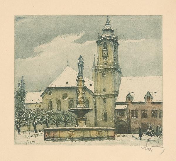 Stredoeurópsky grafik z 1. polovice 20. storočia - Radničné námestie v Bratislave
