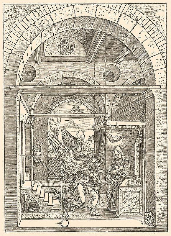Albrecht Dürer – Svätá rodia s dvoma anjelmi v trojlodí