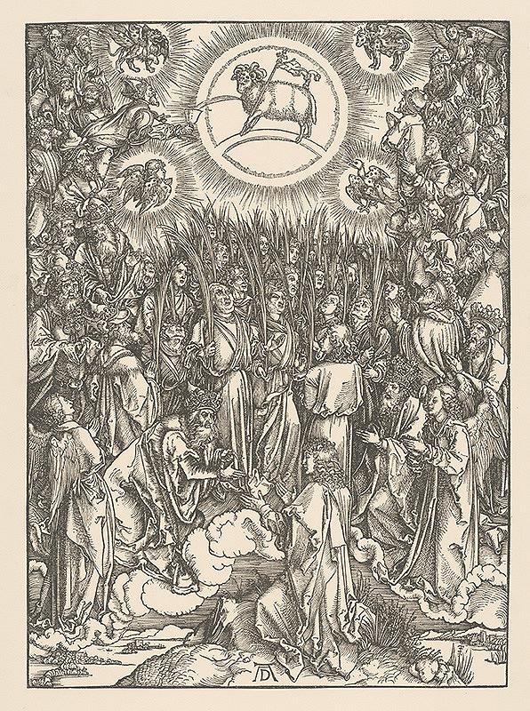 Albrecht Dürer – Výjav z Apokalypsy - 144. 000 vyvolených s palmami - list č. 7