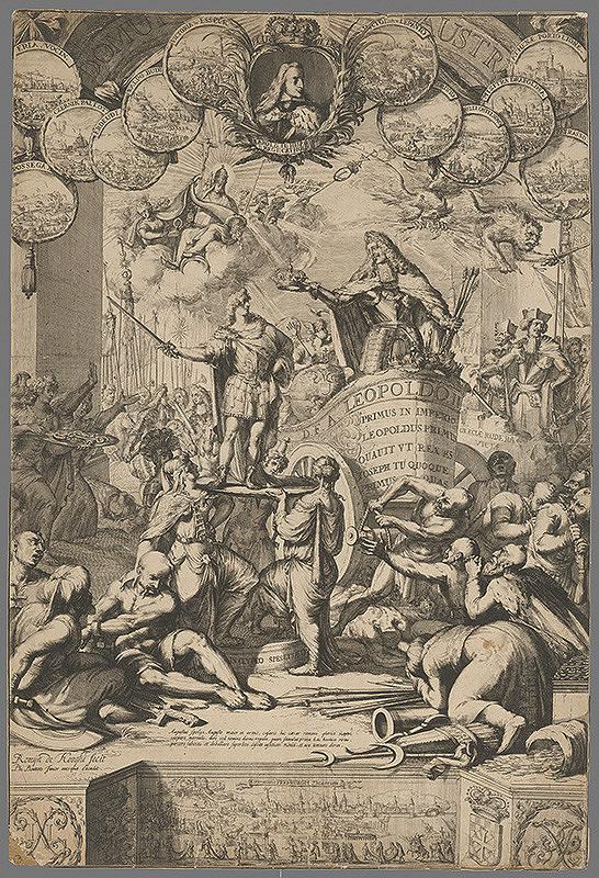 Romeyn de Hooghe – Leopold I. dáva korunu Jozefovi I.