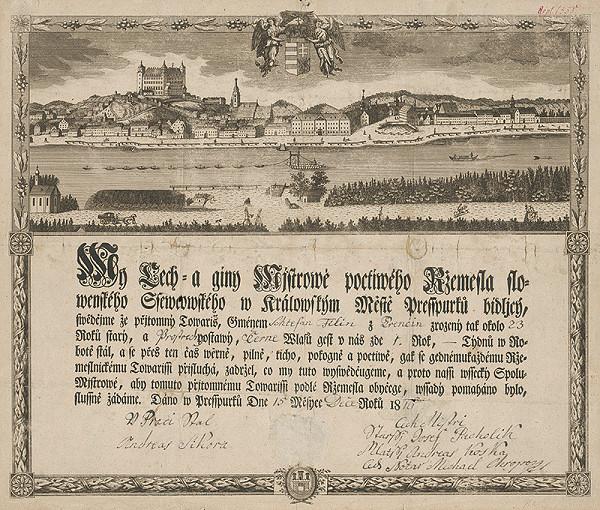 Gottfried Prixner – Cechová listina ševcov v Bratislave
