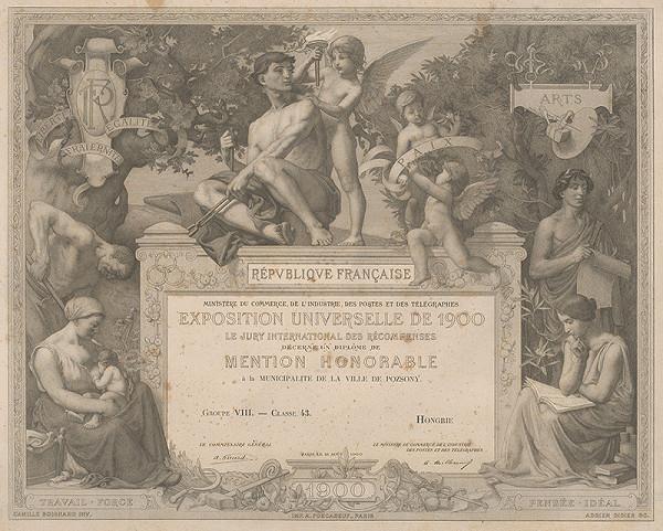 Adrien Didier, Camille Boignard - Čestné uznanie mestskej rade v Bratislave zo svetovej výstavy v Paríži roku 1900
