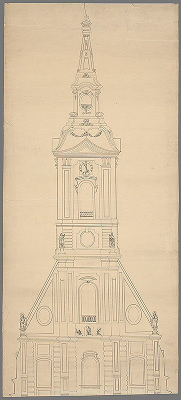 Stredoeurópsky grafik z 1. polovice 19. storočia - Západná fasáda veže dómu sv.Martina v Bratislave