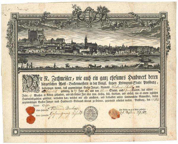 Stredoeurópky grafik z 2. polovice 18. storočia – Cechový list bratislavských pekárov