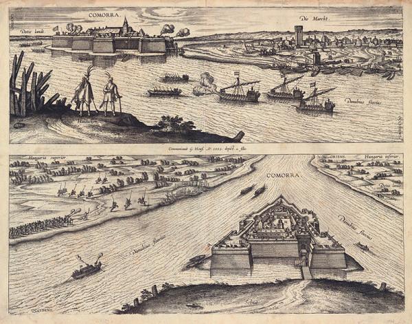 Pieter van der Borcht I., Joris Hoefnagel, Jacob Hoefnagel - Pohľad na pevnosť Komárno zo severu a z juhozápadu