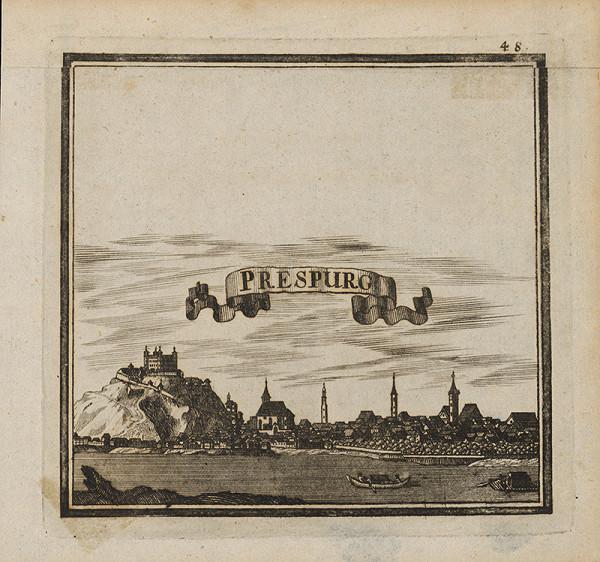 Stredoeurópsky grafik z 1. polovice 17. storočia - Bratislava v 17.storočí - pohľad z juhu