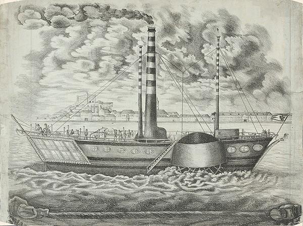 Stredoeurópsky grafik z 1. polovice 19. storočia - Prvý parník v Bratislave a pohľad na mesto z juhu