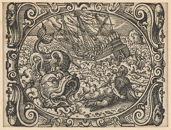 Stredoeurópsky grafik z 2. polovice 17. storočia - Jonáš s veľrybou