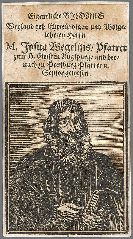 Stredoeurópsky grafik z 1. polovice 17. storočia - Portrét Josua Wegeliusa Pfarrera
