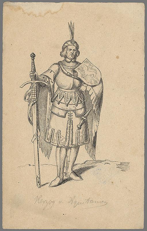 Stredoeurópsky grafik z 19. storočia - Portrét kniežaťa z Akvitánie