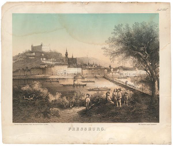 Rakúsky grafik z 19. storočia – Bratislava v 19. storočí - pohľad z juhu