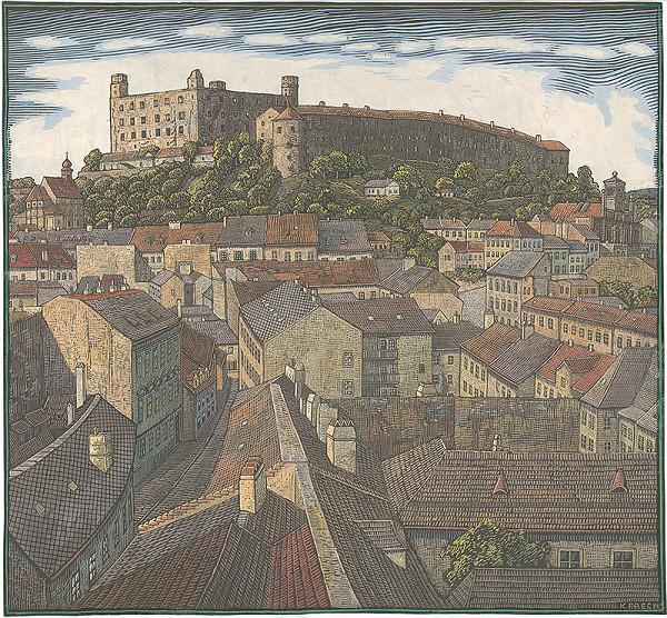 Karol Frech - Pohľad na Bratislavský hrad z Michalskej veže