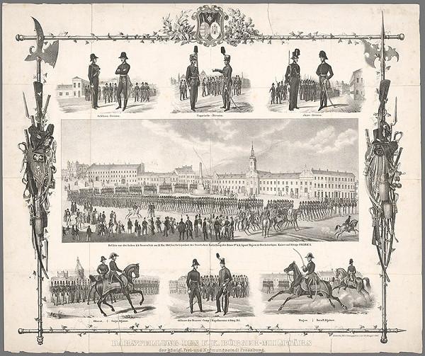 Antal József Strohmayer – Pamätný list s vojenským sprievodom pri príležitosti odhalenia busty cisára Františka I. 31. mája 1841