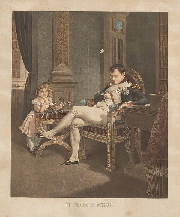 Stredoeurópsky grafik z 19. storočia - Ticho! Otec spí!